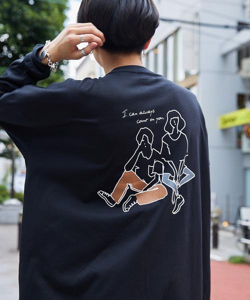 シルケットライク天竺 オーバーサイズイラストプリントL/Sカットソー/プリントロンT/Never Regret/GOOD GAME/Tokyo Mood/Best Friend Forever/CALM AND SERENE/I can always/Keep your Hairon/SPACE RESORT/American Cocker Spaniel/French Bulldog