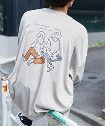 シルケットライク天竺 オーバーサイズイラストプリントL/Sカットソー/プリントロンT/Tokyo Mood/Best Friend Forever/I can always/Keep your Hairon/American Cocker Spaniel/French Bulldogベージュ系その他6