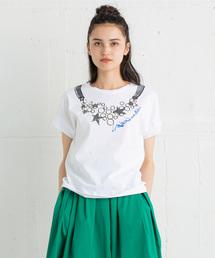 LANVIN en Bleu(ランバンオンブルー)のネックレスプリントTEE(Tシャツ/カットソー)