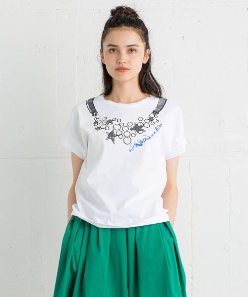 LANVIN en Bleu(ランバンオンブルー)の「ネックレスプリントTEE(Tシャツ/カットソー)」|オフホワイト