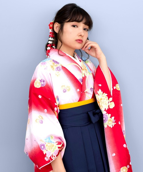 袴セット 二尺袖着物 花和柄 無地袴 3点セット(着物、袴、袴下帯)