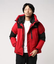 【OUTDOOR PRODUCTS】【GO OUT12月号掲載】切替フード中綿ジャケット ファイバーダウン 防風 ストレッチ 撥水加工 止水ファスナーレッド
