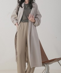 【chuclla】Stand collar spring coat  chw1073グレイッシュベージュ