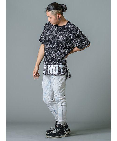 スプラッシュプリントTシャツ ビッグシルエット オーバーサイズ ユニセックス」