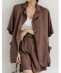 Re:EDIT(リエディ)のsoftリネン半袖BIGシャツジャケット(テーラードジャケット)