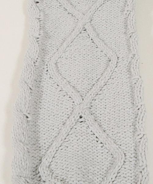 袖ケーブル編みモールヤーンニットチュニック・セーター/510195