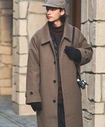 ビーバーメルトンロングステンカラーコート/バルカラーコート2019WINTER(EMMA CLOTHES)ベージュ