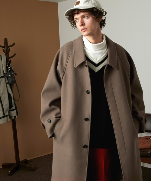 オーバーサイズ ルーズスリーブ テックメルトン ロングバルマカンコート/ルーズステンカラーコート(EMMA CLOTHES)2020AW