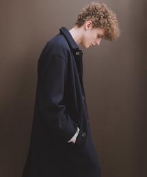 ビーバーメルトンロングステンカラーコート/バルカラーコート2019WINTER(EMMA CLOTHES)ネイビー