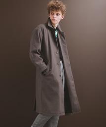 ビーバーメルトンロングステンカラーコート/バルカラーコート2019WINTER(EMMA CLOTHES)チャコール