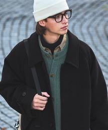 ビーバーメルトンロングステンカラーコート/バルカラーコート2019WINTER(EMMA CLOTHES)ブラック