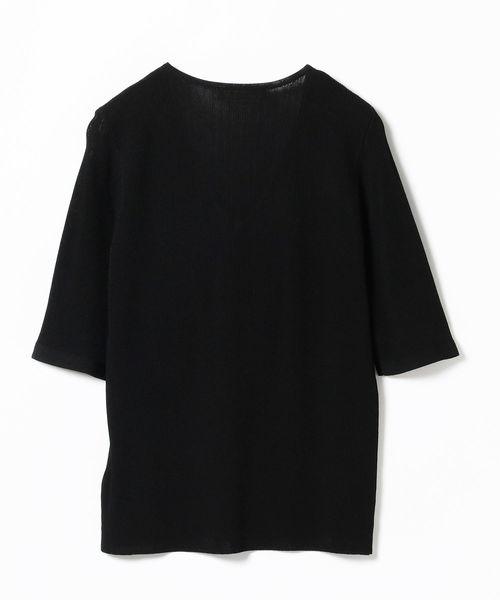 Demi-Luxe BEAMS / 5分袖 Vネックガーターニット