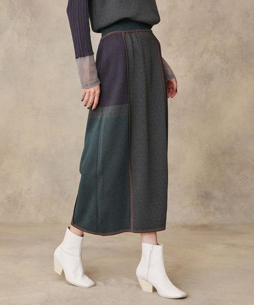PUBLIC TOKYO(パブリックトウキョウ)の「パイピングジャガードニットスカート(スカート)」|グリーン