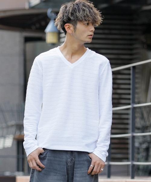 【雑誌掲載】ピンタックジャガード/VネックロングT