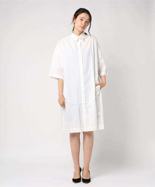 collex(コレックス)の「STAMPS-Big Shirt Dress(ワンピース)」|ホワイト