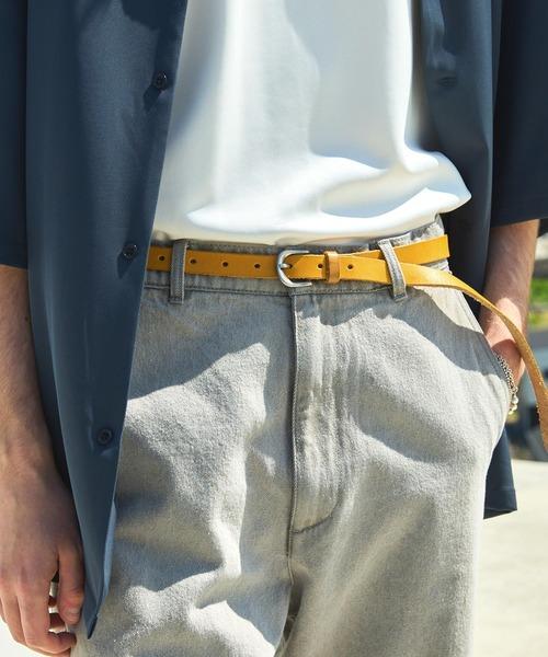 本革ロングレザーナローベルト Real Leather Slim Belt