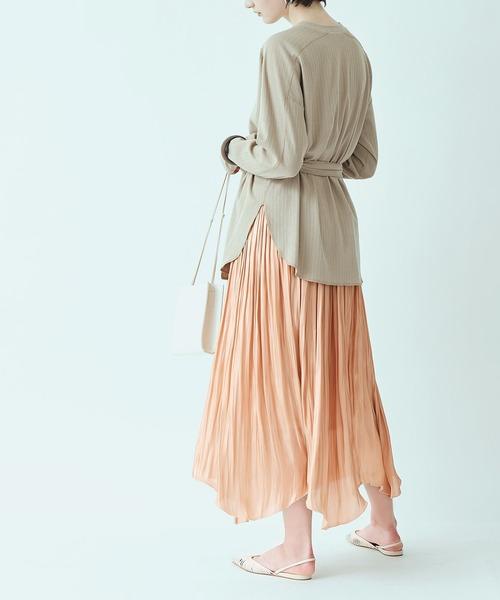 titivate(ティティベイト)の「ランダムヘムギャザースカート(スカート)」|コーラル