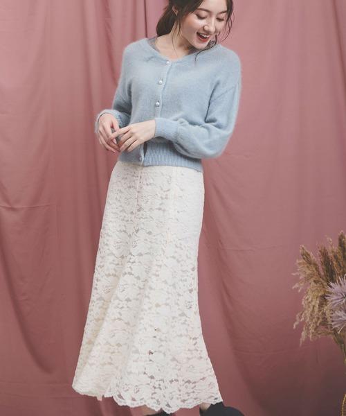 Noela(ノエラ)の「ソフトマーメイドレーススカート(スカート)」|オフホワイト
