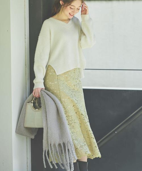 Noela(ノエラ)の「ソフトマーメイドレーススカート(スカート)」|イエロー