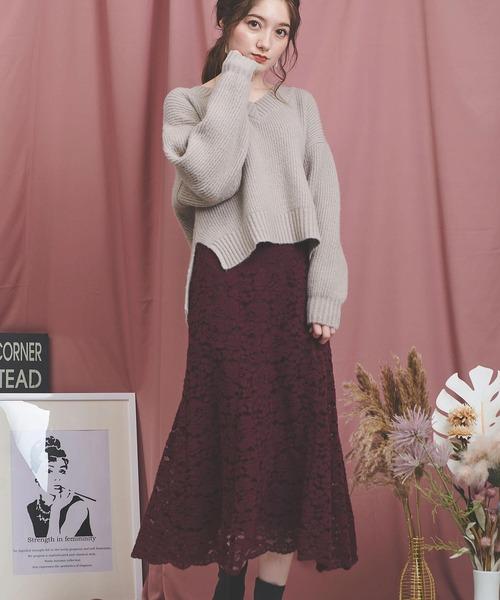 Noela(ノエラ)の「ソフトマーメイドレーススカート(スカート)」|ボルドー