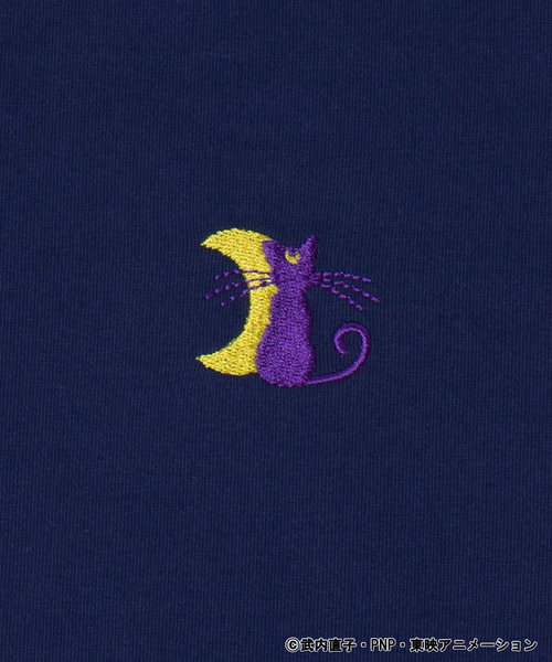 ∴WEGO/【美少女戦士セーラームーンコラボ】ルナワンポイント刺繍Tシャツ