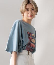 WEGO(ウィゴー)のWEGO/フラワーフォトプリントビッグTシャツ(Tシャツ/カットソー)