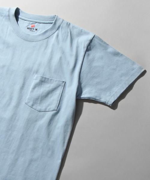 HANES(ヘインズ)の「【HANES】ヘインズ BEEFY ビーフィー ポケットTシャツ(Tシャツ/カットソー)」|スカイブルー