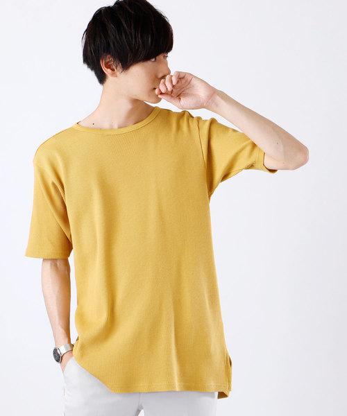 ワッフル編みオーバーロングカットソー/サイドスリットヘムライン