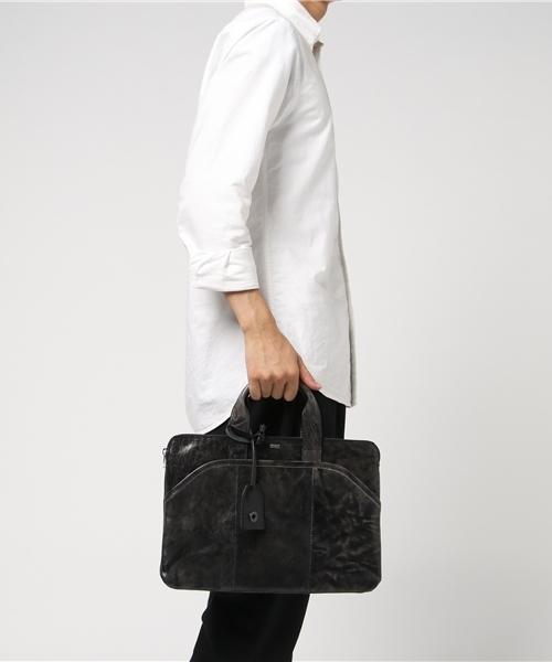 DECADE(ディケイド)の「アンティックホースレザー・ミニブリーフバッグ(No-01013) Antique Horse Leather Mini Business Bag ビジネス(ビジネスバッグ)」|ブラック