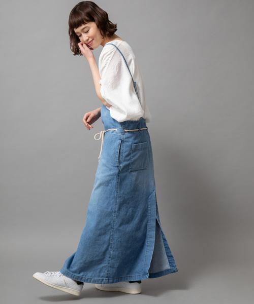 Munich(ミューニック)の「8ozデニムジャンパースカート(ジャンパースカート)」 ブルー