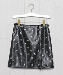<WE11DONE>EYELETS FAUX-LEATHER MINI SKIRT/スカート.