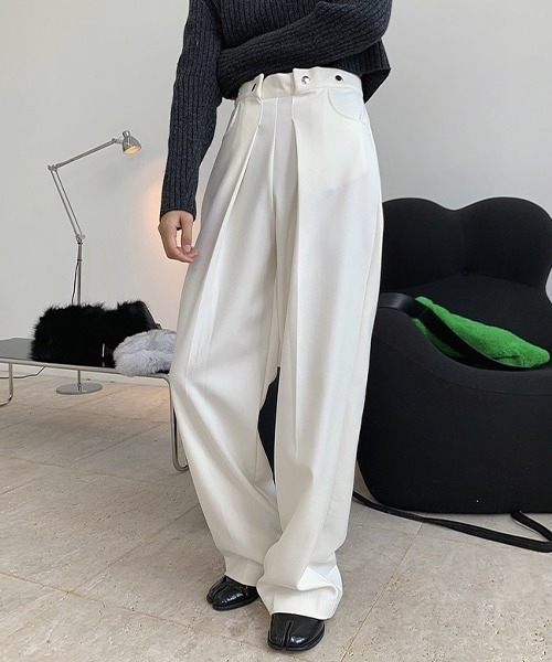 【chuclla】【2021/SS】Tuck high-waist pants chw1482