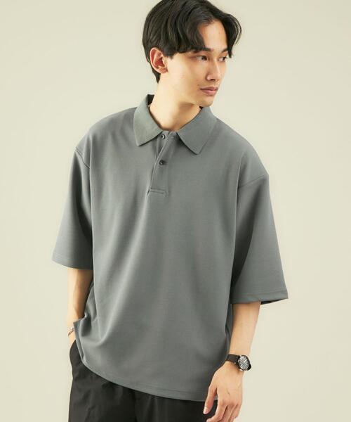 CM ナシジ ダブルフェイス 5分袖 ポロシャツ