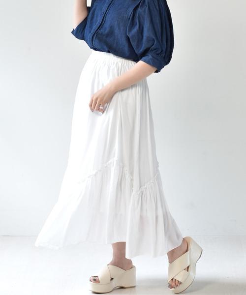 裾ギャザーフレアスカート
