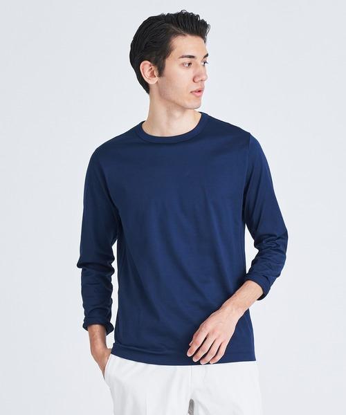 ESTNATION(エストネーション)の「ESTNATION クルーネックロングスリーブTシャツ <GIZAndyシリーズ>(Tシャツ/カットソー)」|ネイビー