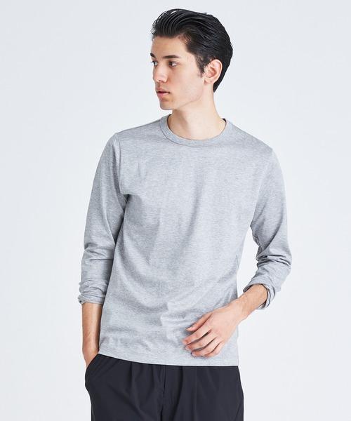 ESTNATION(エストネーション)の「ESTNATION クルーネックロングスリーブTシャツ <GIZAndyシリーズ>(Tシャツ/カットソー)」|グレー