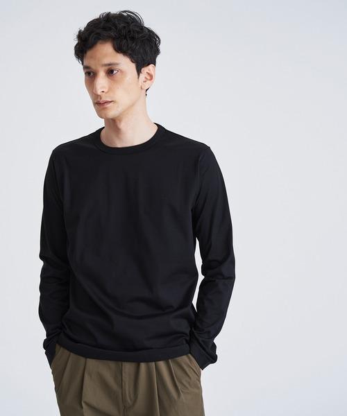 ESTNATION(エストネーション)の「ESTNATION クルーネックロングスリーブTシャツ <GIZAndyシリーズ>(Tシャツ/カットソー)」|ブラック