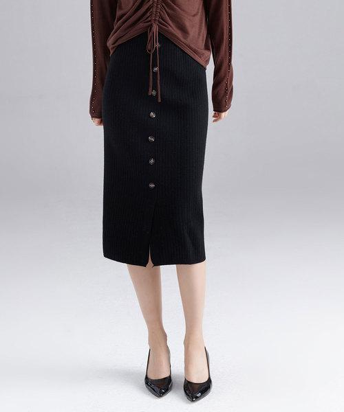 ボタンデザインリブニットタイトスカート