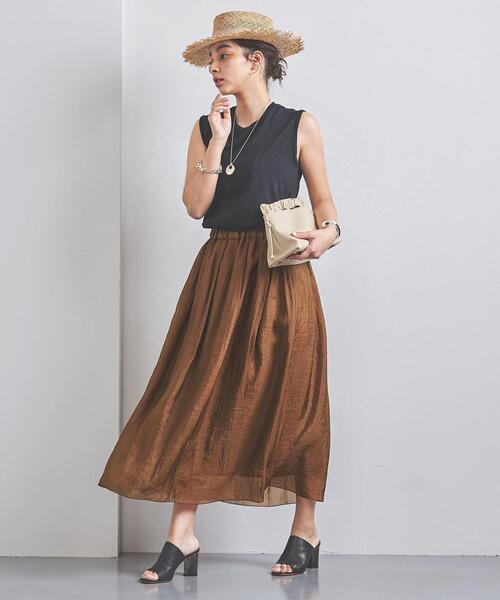 <SACRA(サクラ)>ギャザー ロングスカート