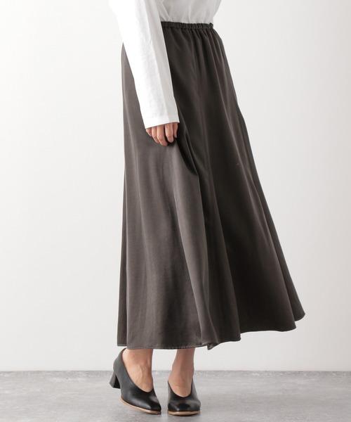 LEPSIM(レプシィム)の「サテンフレアスカート 895646(スカート)」|チャコールグレー