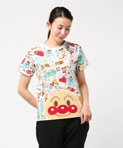 ANPANMAN KIDS COLLECTION(アンパンマンキッズコレクション)の「【アンパンマン】日本語がかわいい!顔文字Tシャツおとな(Tシャツ/カットソー)」|オフホワイト