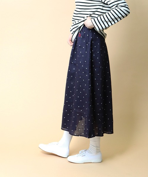 【 Le Sans Pareil / ルサンパレイユ 】LINEN DOT PANEL SKIRT リネン ドット パネルスカート