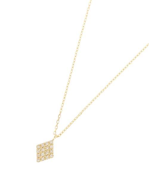 ダイヤモンド パヴェひし形 ネックレス