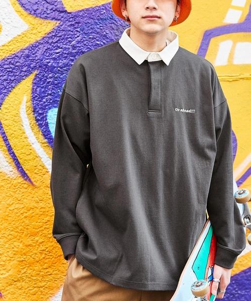 ヘビーウェイトコットン オーバーサイズ ワンポイント刺繍ラガーシャツ/サイドポケット付