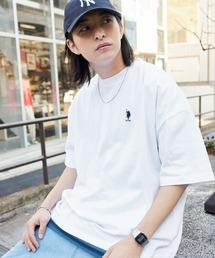 U.S. POLO ASSN. /ユーエスポロアッスン 別注ワンポイント刺繍 ビッグシルエットカットソー 半袖tee トップスホワイト