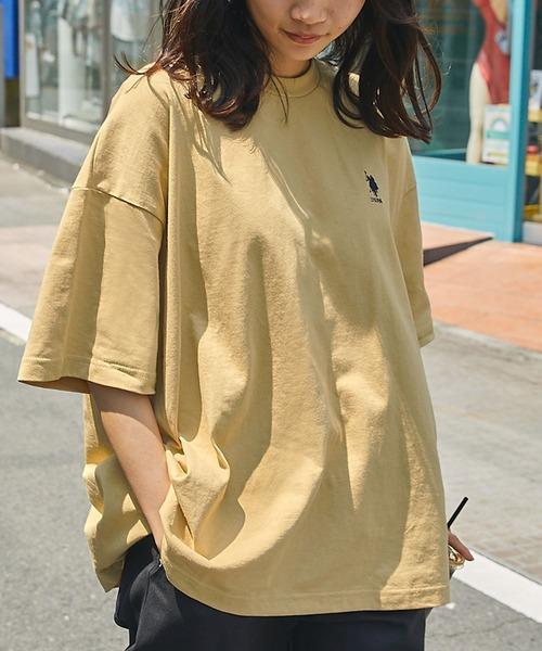 U.S. POLO ASSN. /ユーエスポロアッスン 別注ワンポイント刺繍 ビッグシルエットカットソー 半袖tee トップス