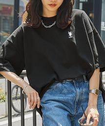 U.S. POLO ASSN. /ユーエスポロアッスン 別注ワンポイント刺繍 ビッグシルエットカットソー 半袖tee トップスブラック