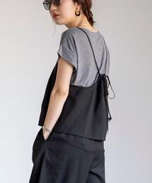 【2セットアイテム】セットアップ対応シャドウストライプキャミ×Tシャツセット