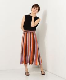 JC ストライプ ラメシアー スカート / プリーツスカート