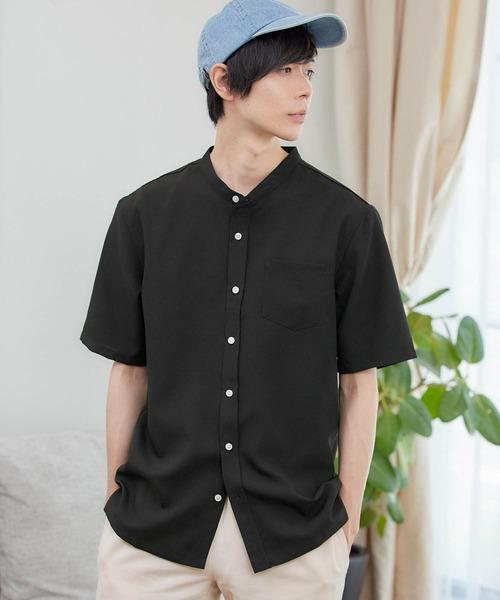 ポリトロリラックスバンドカラーシャツ(1/2 sleeve)